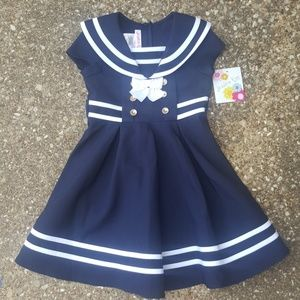 Jessica Ann Navy Blue White Sailor Dress 4 NWT